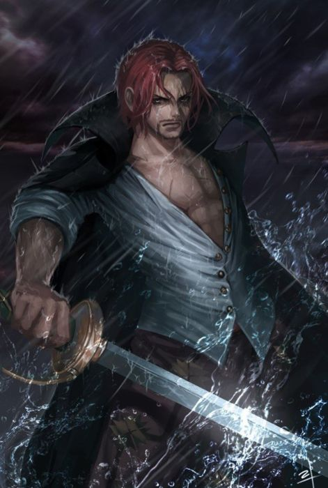 anime series onepiece sword red hair male character wallpaper