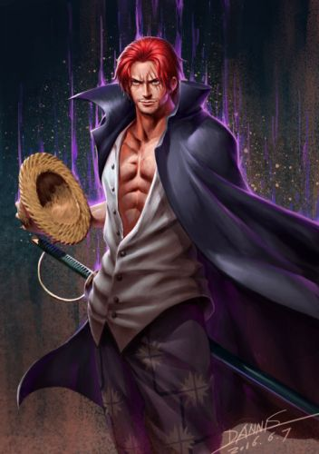 anime series onepiece sword red hair rain male character wallpaper