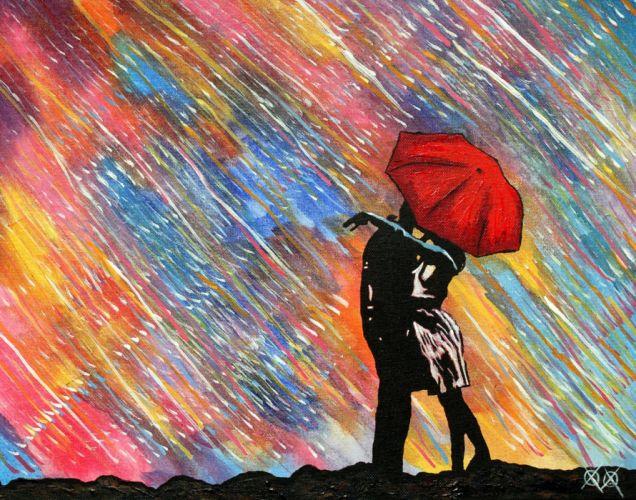 couple love red romantic umbrella wallpaper