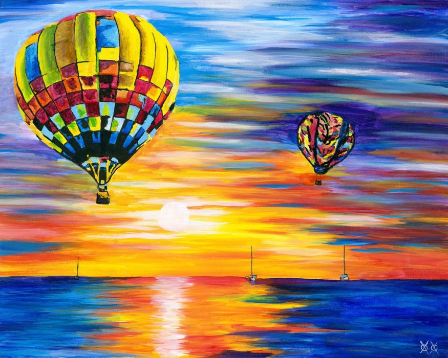 at oil sunset sea sky balloons beauty wallpaper