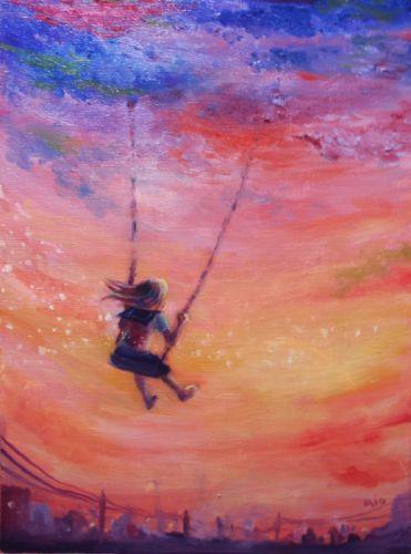 art oil girl sunset sky beauty wallpaper