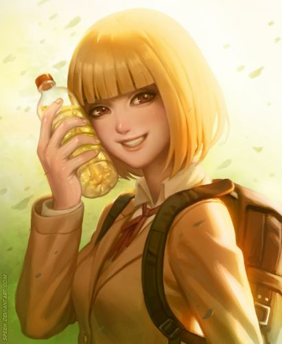 anime girl beautiful beverage blonde hair brown eyes ribbon school bag seifuku short hair smile Prison School wallpaper