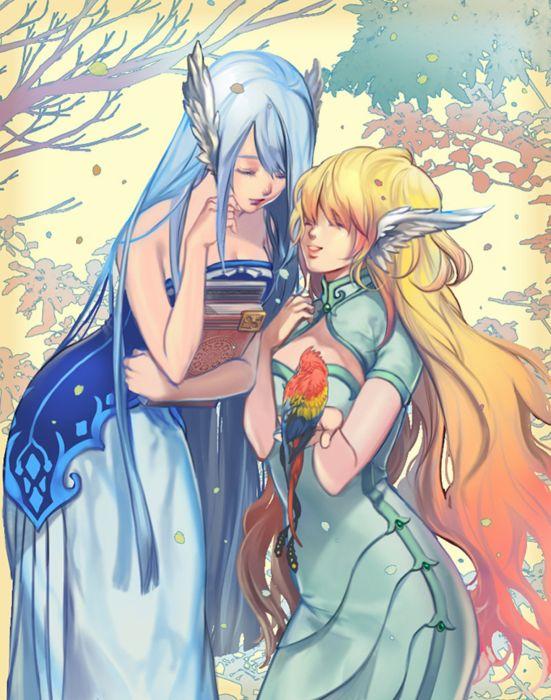bird blonde hair blue eyes book dress anime girl beautiful happy headdress long hair sky wallpaper