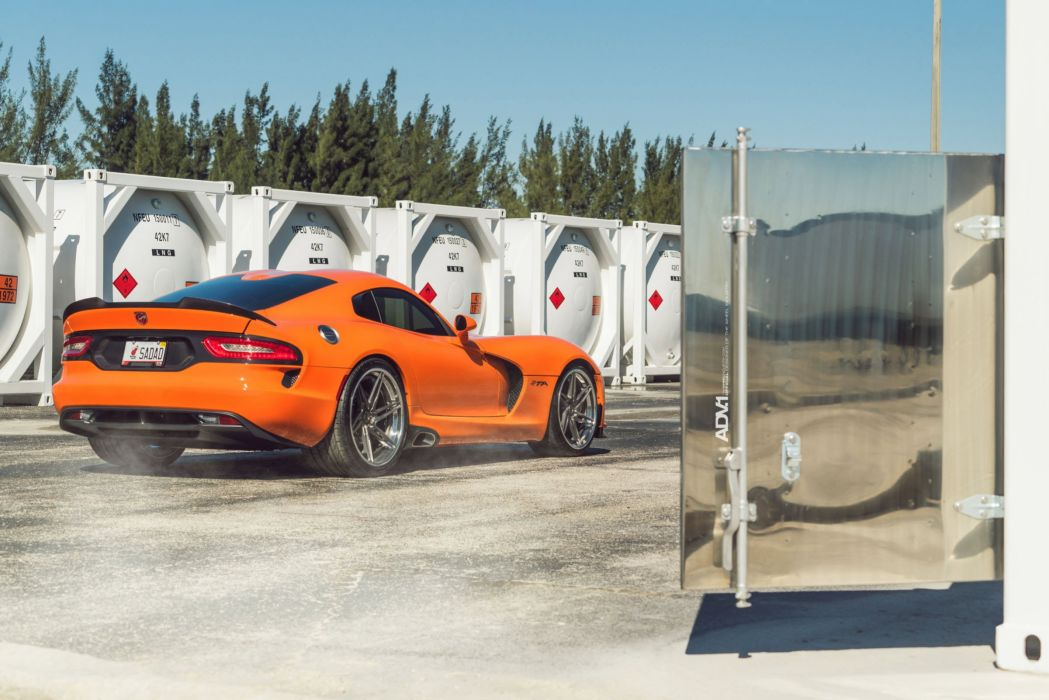 Dodge Viper coupe cars ADV1 wheels orange wallpaper