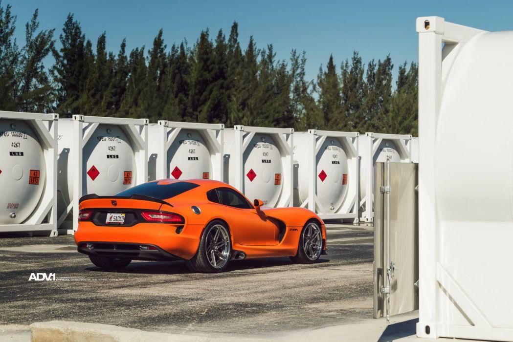 Dodge Viper coupe cars ADV1 wheels orange wallpaper