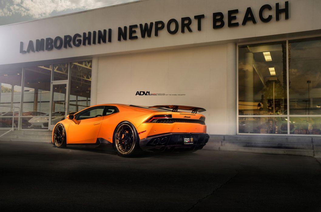 Lamborghini Huracan LP610 coupe cars ADV1 wheels orange wallpaper