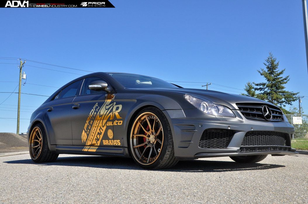 Mercedes CLS55 prior design matt black cars ADV1 wheels wallpaper