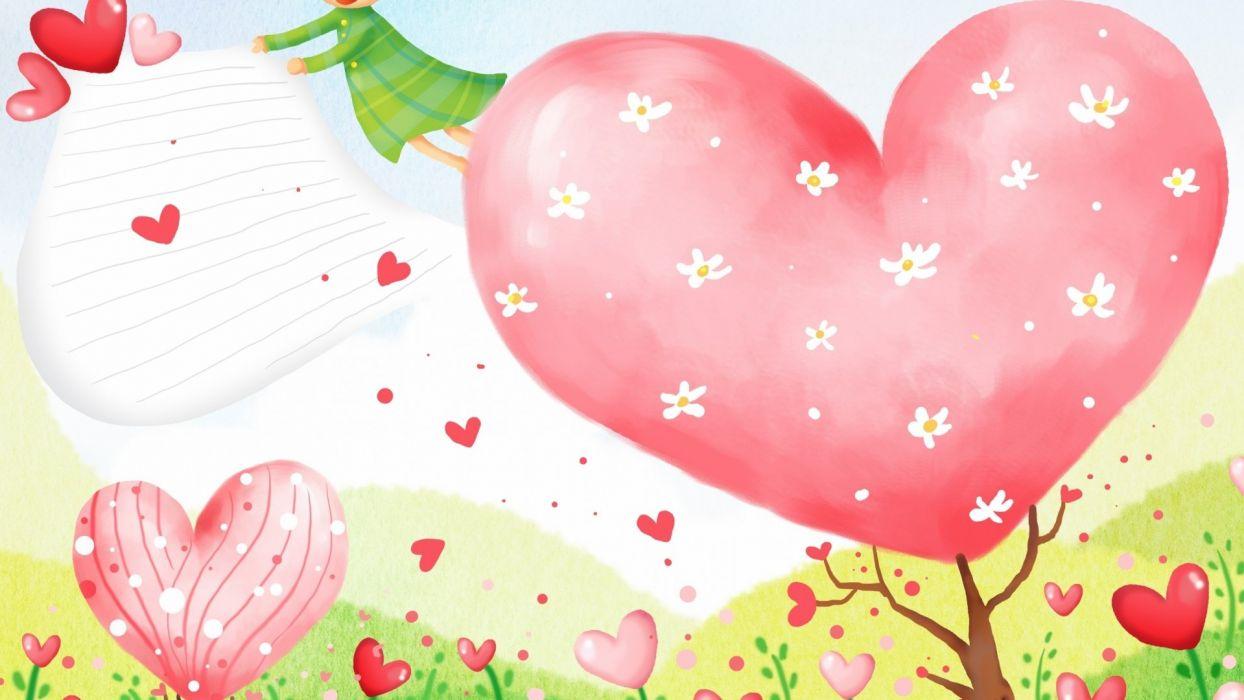 corazones arboles amor wallpaper