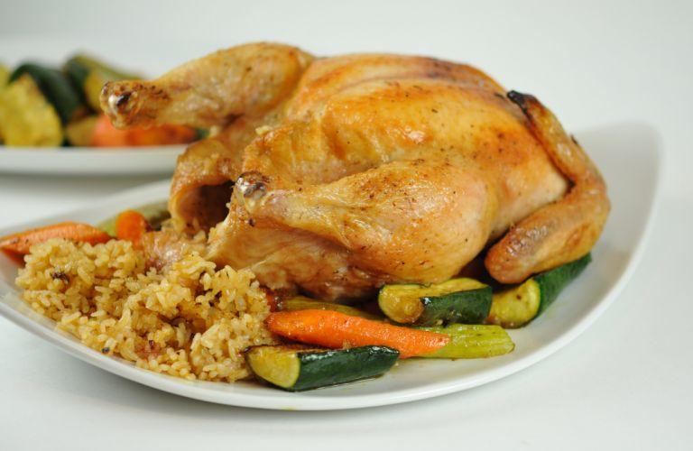 pollo asado patatas verduras comida wallpaper