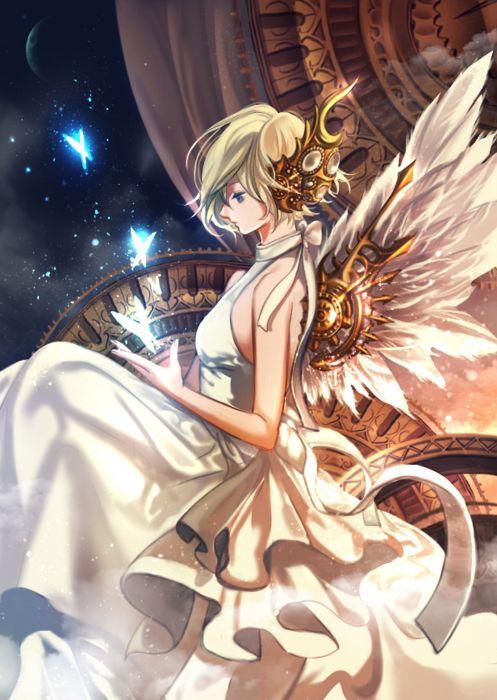 anime girl beautiful blonde hair blue eyes butterfly dress headdress night ribbon short hair sky wings wallpaper