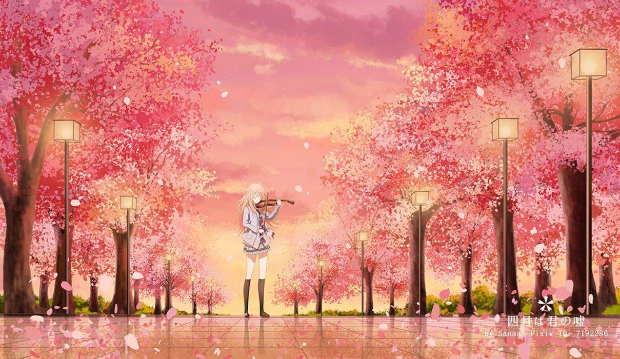 anime girl beautiful blonde hair long hair sakura seifuku sky sunset tie tree violin wallpaper