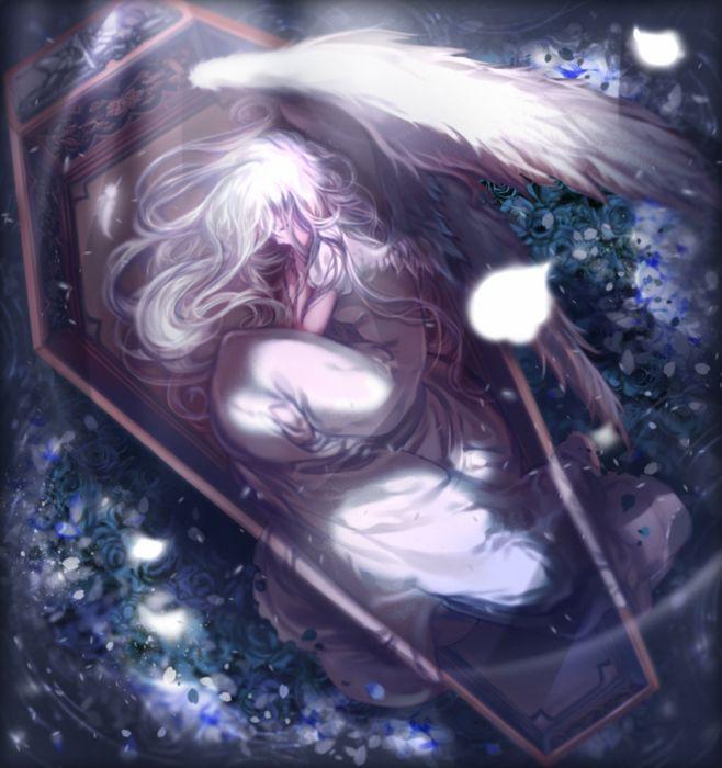 anime girl beautiful dress flower grey hair long hair tenshi wings wallpaper
