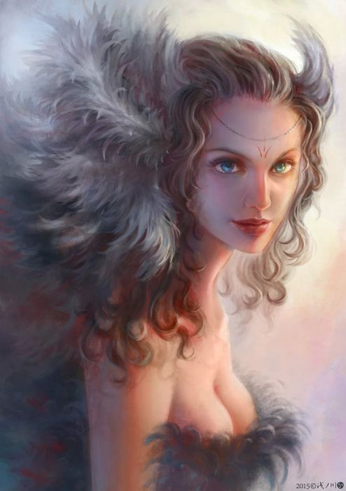 fantasy girl beutiful blue eyes face wallpaper
