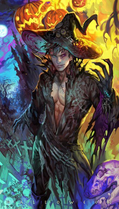 fantasy witch man hallowen male wallpaper
