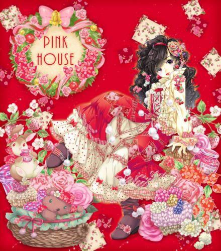 anime girl beautiful pink anime girl flower beautiful animal rabbit wallpaper