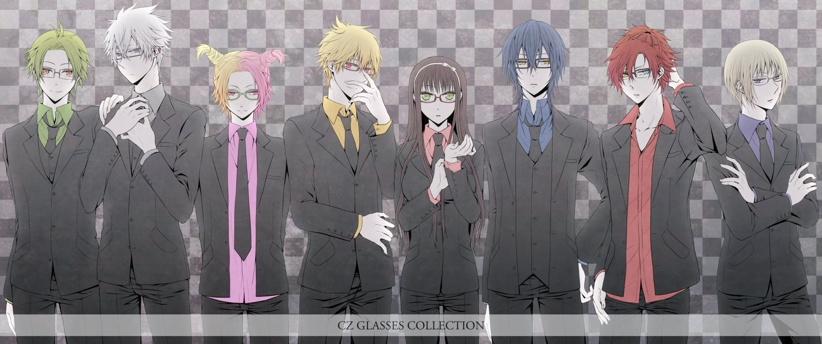 anime game group Clock Zero ~Shuuen no Ichibyou ahoge blonde hair blue eyes blue hair brown hair glasses green eyes green hair grey band heterochromia jewelry long hair pink hair red eyes red hair short hair smile suit twin tails yellow wallpaper