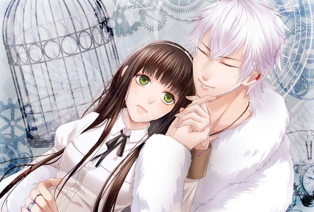 anime couple girl Clock Zero ~Shuuen no Ichibyou~ black hair green eyes hair band holding hands jacket jewelry long hair ribbon short hair smile white hair wallpaper