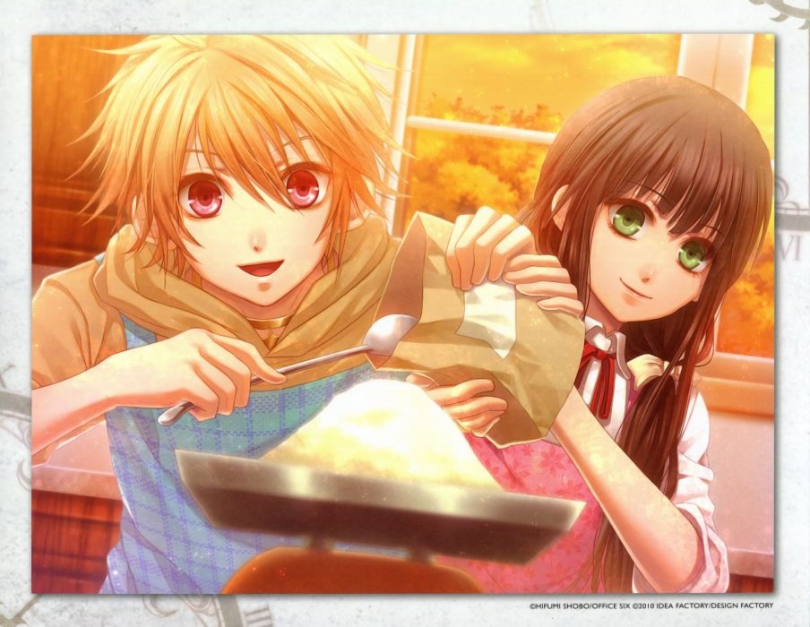 Anime Girl Couple Clock Zero Shuuen No Ichibyou Apron Blonde Hair
