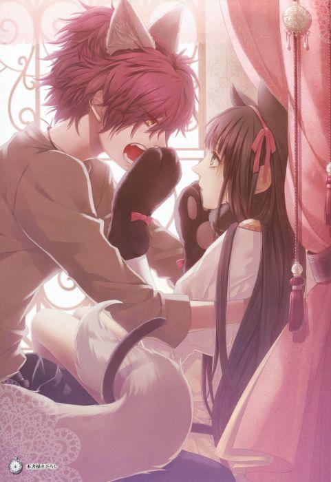 anime couple girl Clock Zero ~Shuuen no Ichibyou~angry black hair gloves green eyes jewelry long hair neko mimi ookami mimi ponytail red hair ribbon short hair tail yellow eyes wallpaper
