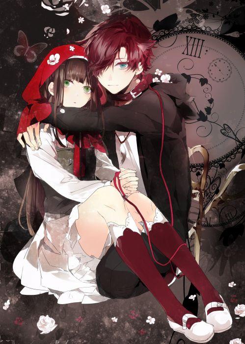 anime couple girl Clock Zero ~Shuuen no Ichibyou~ blue eyes choker cloak crossover dress flower green eyes long hair red hair short hair smile wallpaper