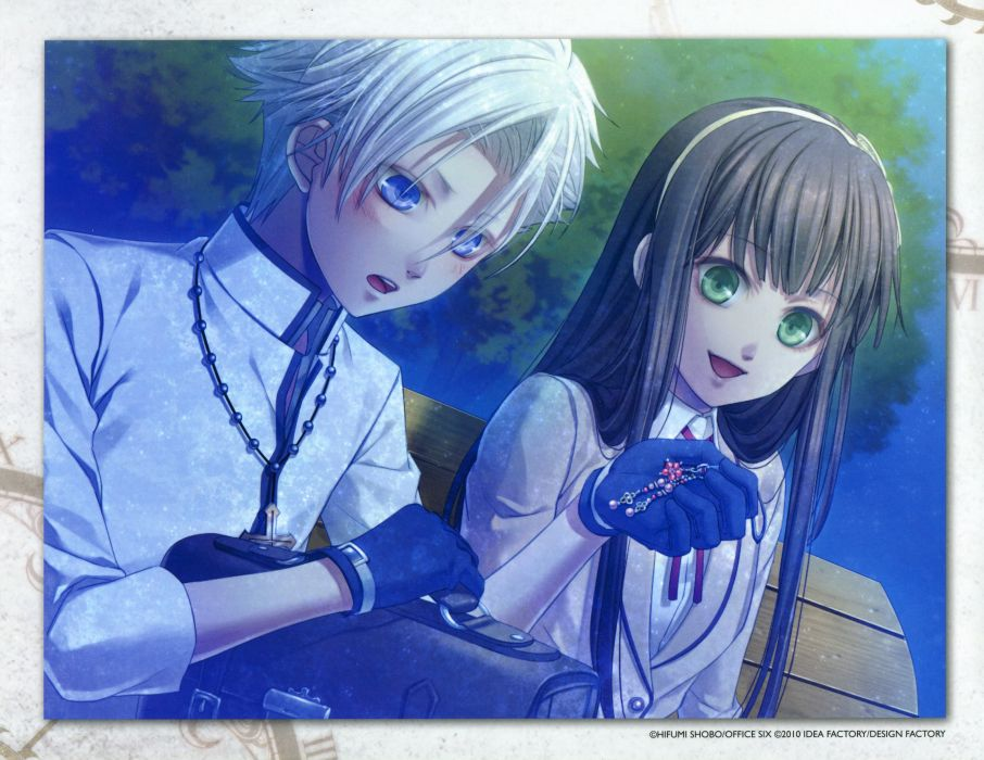 anime couple girl Clock Zero ~Shuuen no Ichibyou~ blue eyes brown hair gloves green eyes hair band happy jewelry long hair night short hair white hair wallpaper