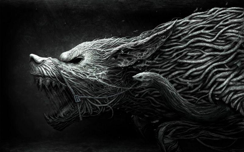 abstracto dark lobo feroz wallpaper