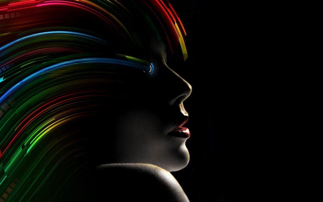 abstracto dark mujer pelo colores wallpaper