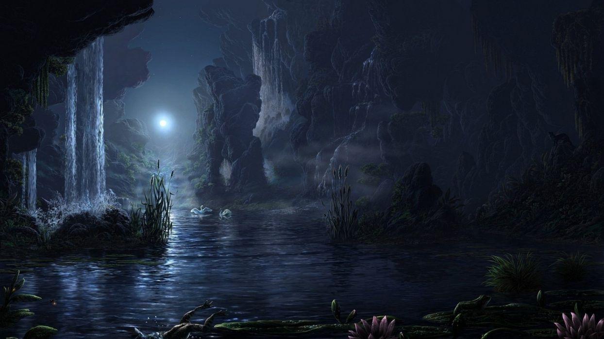 fantasy lake animal moon waterfall landscape beauty night wallpaper