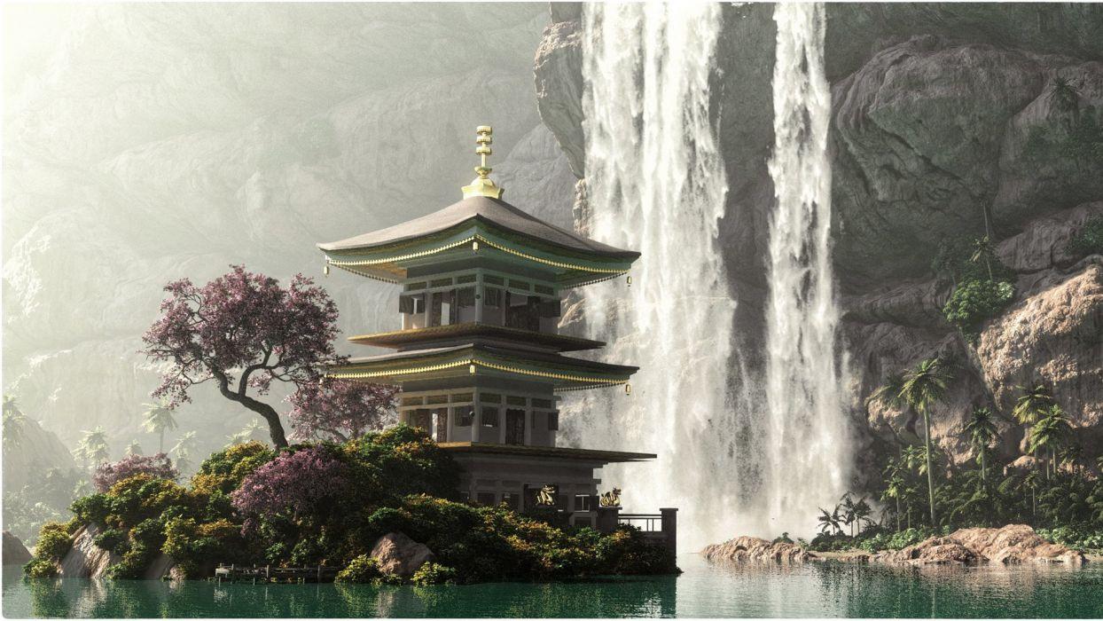 fantasy landscape waterfall beauty lake wallpaper