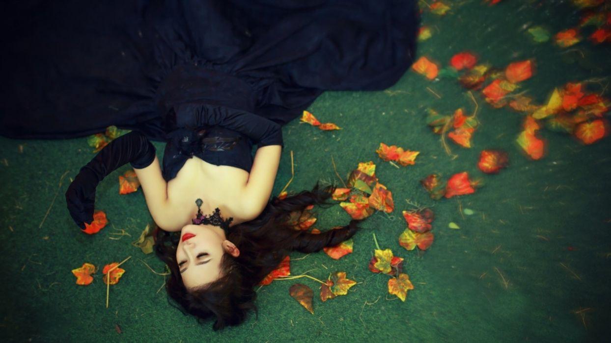 leaves autumn girl woman dress beauty beautiful model long hair wallpaper
