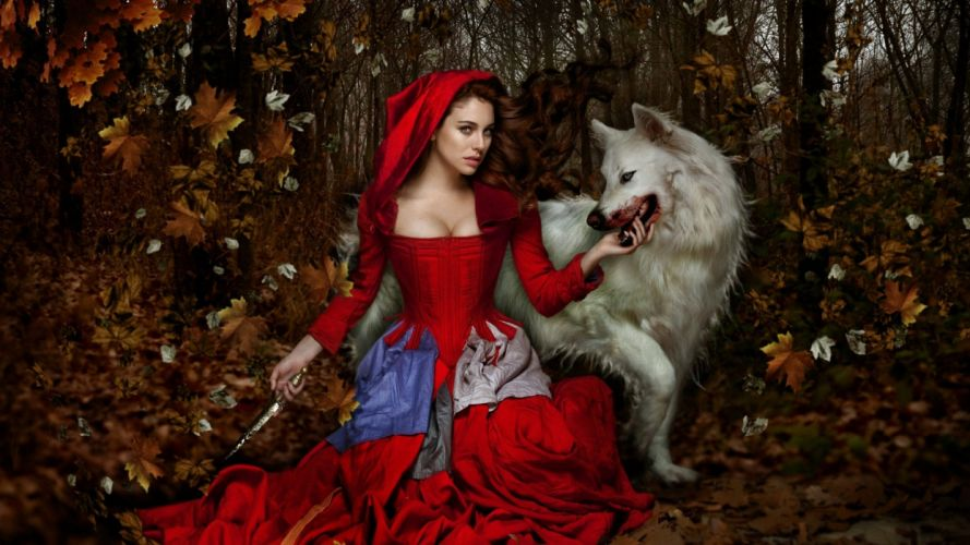 wolf girl woman fantasy blood animal dress red knife forest female autumn wallpaper