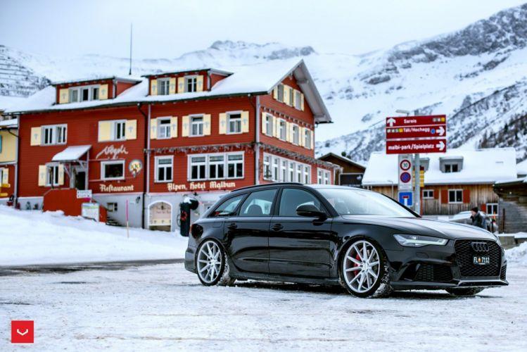 Audi RS6 avant black Vossen Wheels cars wallpaper