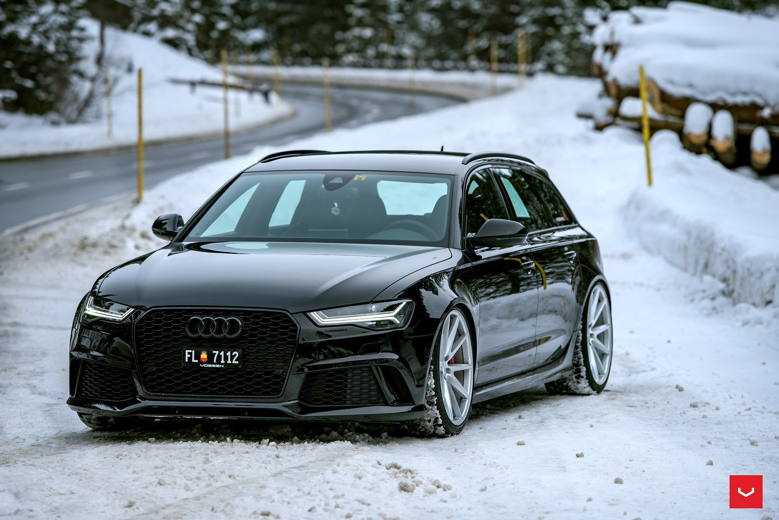 Audi Rs6 Avant Black Vossen Wheels Cars Wallpaper