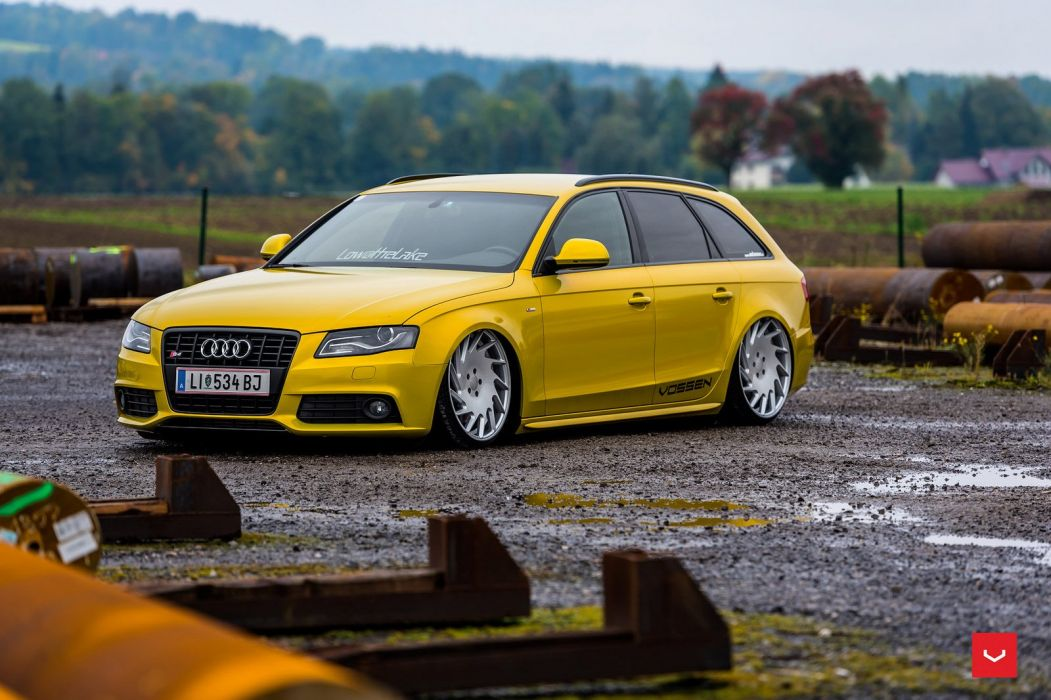 Audi s4 avant yellow Vossen Wheels cars wallpaper