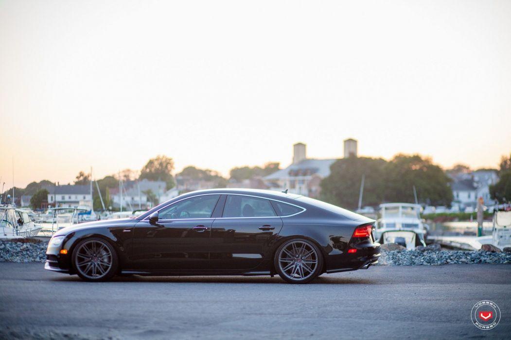 Audi A7 black Vossen Wheels cars wallpaper