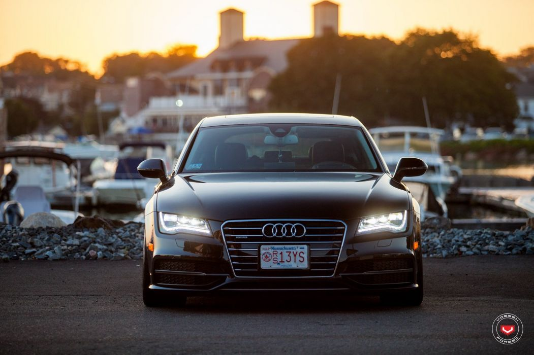 Audi A7 black Vossen Wheels cars wallpaper
