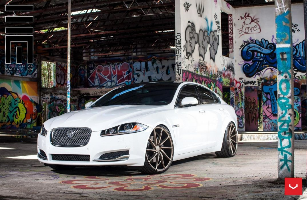 Jaguar XF white Vossen Wheels cars wallpaper