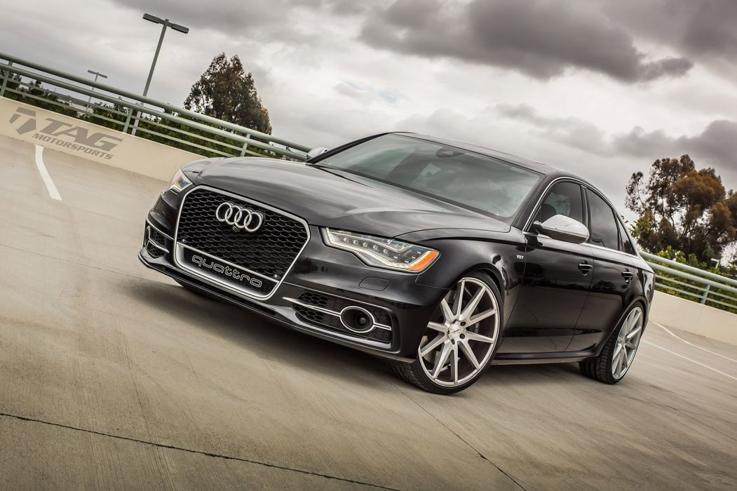 Audi S6 black sedan Vossen Wheels cars wallpaper