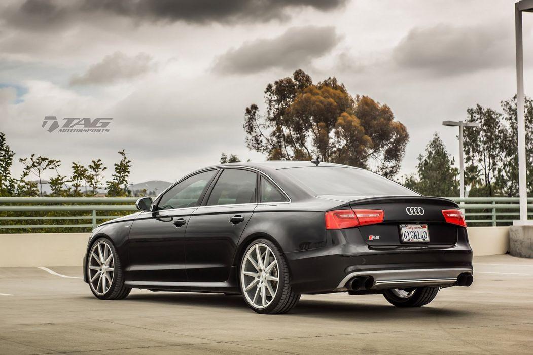 Audi S6 black sedan Vossen Wheels cars wallpaper