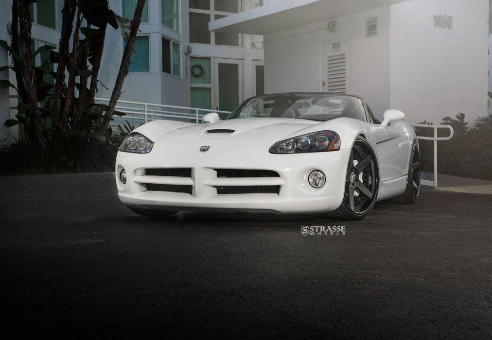 Strasse Wheels Dodge Viper SRT10 coupe white wallpaper