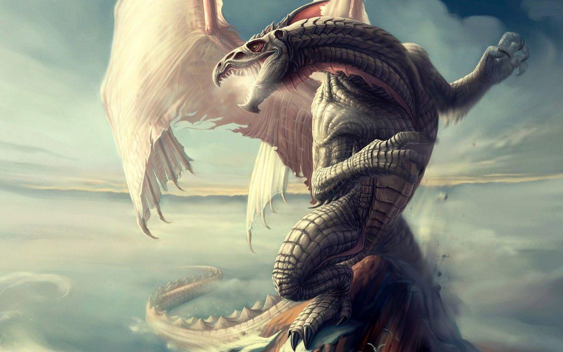 abstracto fantasia dragon isla wallpaper