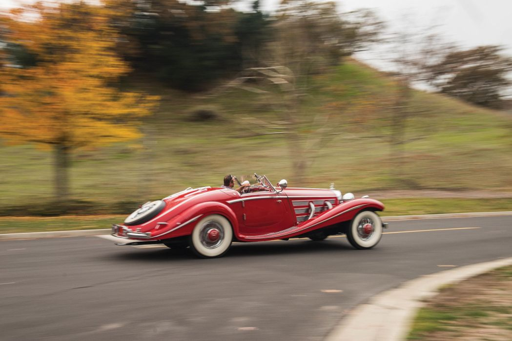 1937 Mercedes 540K red convertible classic cars wallpaper