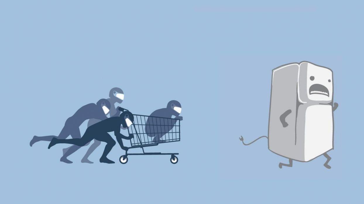 abstracto humor ninjas carro frigorifico wallpaper