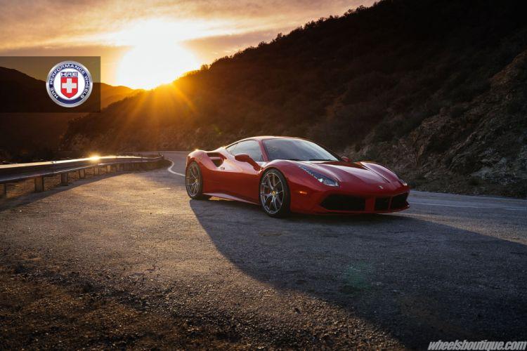 Ferrari 488 GTB HRE wheels cars red wallpaper