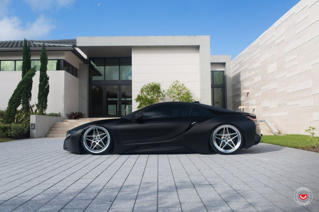 BMW i8 VOSSEN wheels cars BLACK ELECTRIC wallpaper