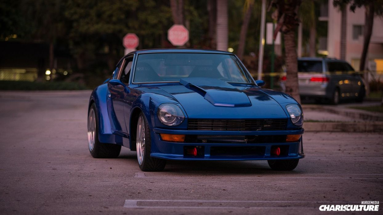 nissan Turbo Z cars coupe blue modified wallpaper