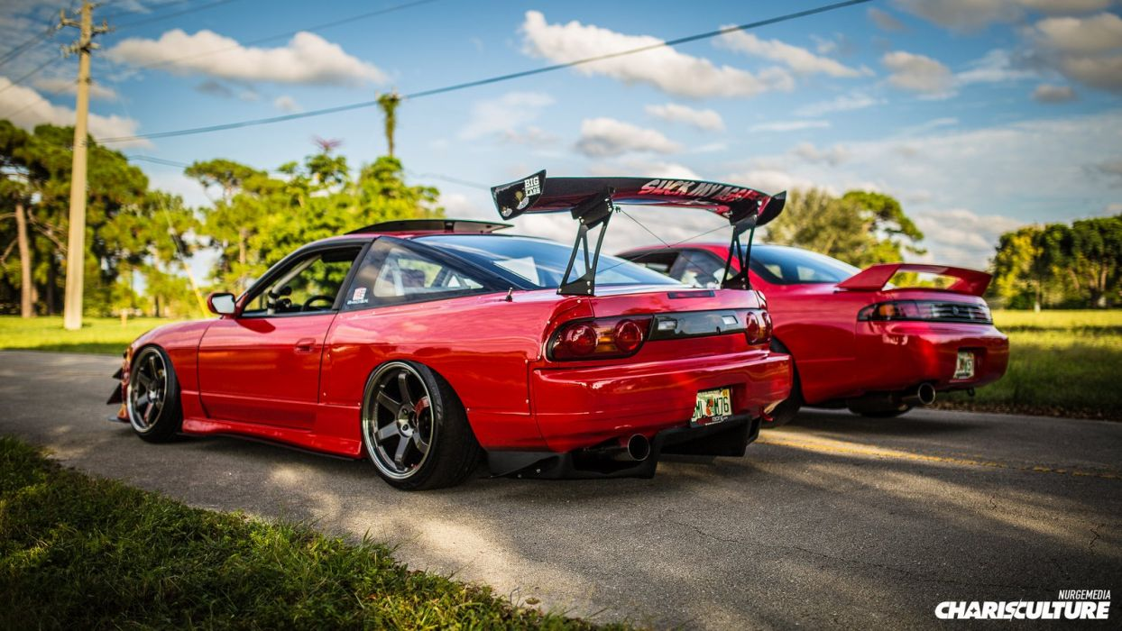 nissan 240 sx twins cars coupe red modified wallpaper