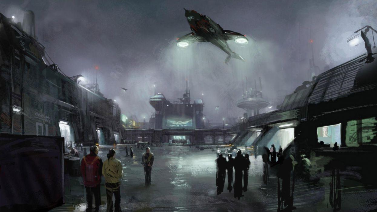 abstracto sci-fi nave alienigena ciudad noche wallpaper