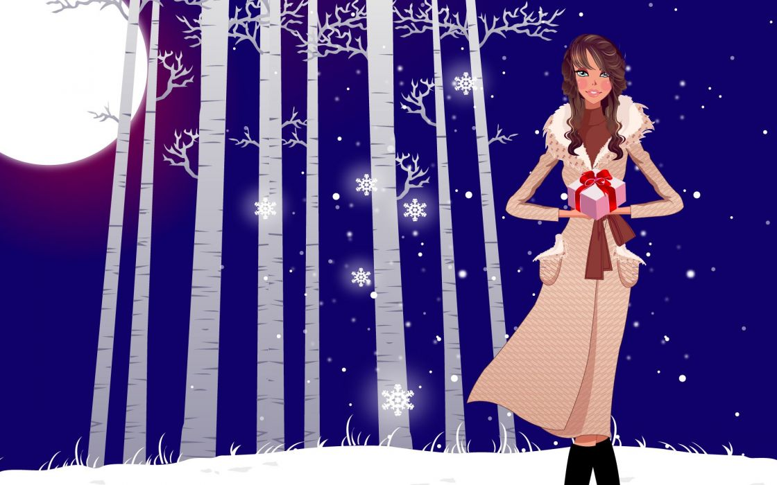 abstracto vector chica nieve luna arboles wallpaper