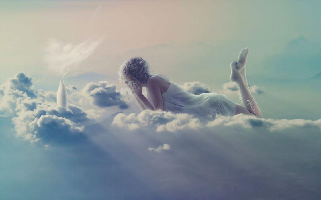 abstracto vector chica nubes wallpaper